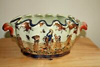 Antique Chinese/ Asian Oval Scalloped Clam Edge Porcelain Planter Jardiniere