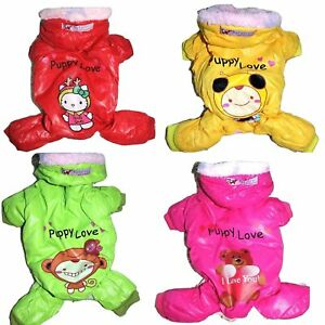 Dog SUPER Warm Fur Winter Coat Overall SNOWSUIT Jumpsuit Hoodie For SMALL Pet