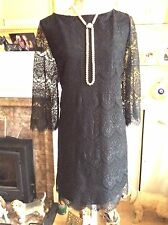 Monsoon Black Lace LoLo L.s. Dress Size 18 Immac Posting Daily Hols