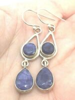 BLUE SAPPHIRE FACETED NATURAL CORUNDUM GEMSTONE STERLING SILVER DROP EARRINGS