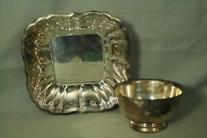 lot 2 silverplate bowls Reed & Barton 180 Wm Rogers Paul Revere reproduction