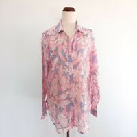 Sportscraft Size 12 Pink Floral Semi Sheer Long Sleeve Button Top Women's Blouse
