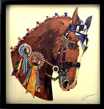 Handarbeit 3D Collage Kunst Frame Art Bild Wandbild Pferd Reiten Sieg Wohnzimmer