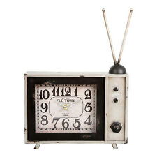 Retro Style Large TV Clock – Vintage – Novelty – Antenna – Silver - Distressed