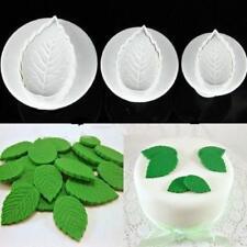 3pcs Fondant Cake Cutter Plunger Cookie Mold DIY Flower Leaf Decorating FW