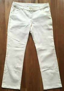 Valentino Ladies cream stretch straight Denim jeans size 50 US 14 Italian made