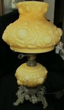 Honey Colored Puffy Rose Embossed Cased Glass Banquet Lamp & Shade