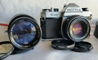 PENTAX K1000 35mm SLR FILM CAMERA, SMC 50mm Lens Plus Focal 80-200mm Zoom Lens