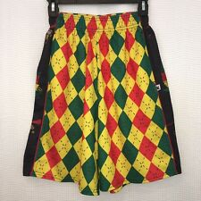 Flow Society Lacrosse Monkey Shorts Mens Small Jamaican Argyle Red Yellow Green