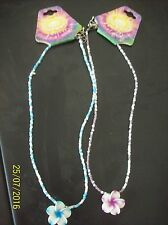 Jay Jewellery ~ 2 x  Girls's Pretty Blue & Purple Beaded Flower Necklaces ( New)