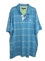 Mens Pebble Beach Size Large Blue  Striped Short Sleeve Polo Rugby Golf Shirt