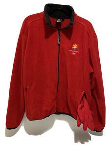 Salt Lake City Utah Winter Olympics 2002 Red Fleece Zip Up Size XL & Gloves