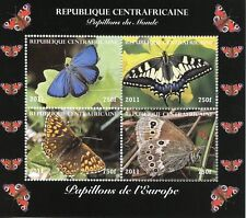Central African Rep 2011 CTO Butterflies of Europe 4v M/S Butterfly Stamps