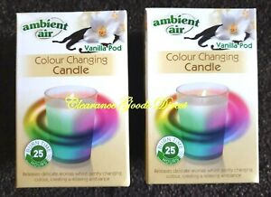Ambient Air Colour Changing Candle Vanilla Pod 25hrs Burn time x 2 Candles