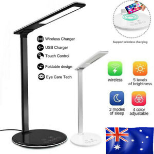 2 in 1 LED Desk Table Lamp Dimmable Bedside Reading Light Wireless Phone Charger