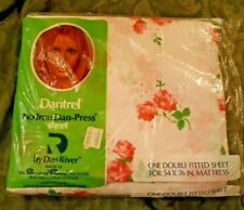 Vintage Dantrel Dan River Double Fitted Sheet New Old Stock Pink Roses