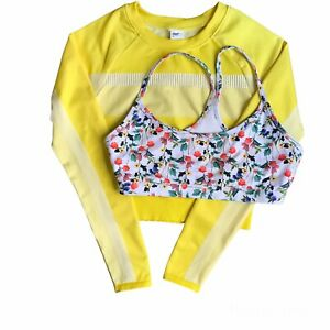 Fabletics Yellow Tory Cropped Seamless Long Sleeve Top & Floral Sports Bra XS