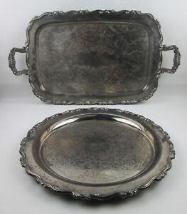 "2 Oneida Georgian Scroll Trays 24"" Handled Butler Serving and 15"" Waiter Round"
