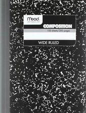 Kabellos Zusammensetzung Buch, Breit / Rand Lineal 100 Blätter, ohne Ovp Packung