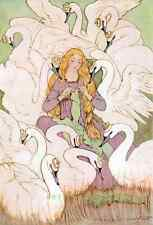 Postcard: Vintage print - Knitting Woman with Swans - Repro - Art Nouveau