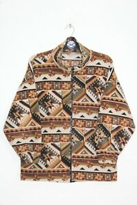 VINTAGE 90'S ABSTRACT CRAZY PATTERN FLEECE JUMPER,RETRO,SIZE:LARGE