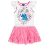Disney Frozen ELSA White Pink Mesh Tutu Sparkle Ruffle Sleeve Shirt Dress 2T 4T