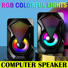 More details for surround sound system led pc speakers gaming bass usb wired for desktop computer
