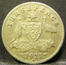 1921 M Australia 3d Threepence** ERROR DIE CRACKS ** #RB321m-1