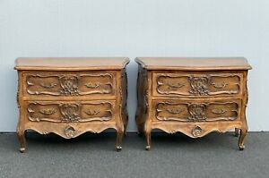 Pair of Vintage French Bombe Bombay Brown Ornate Solid Wood Nightstands w Brass