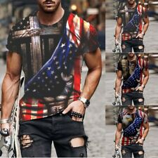 New listing Polyester Tops 3D Graphic Blouse Clothes Men Round Neck Short Sleeve Sport