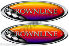 """CrownLine Boat Remastered Name Plate Oval Race Decals 10"""" inches long each"""