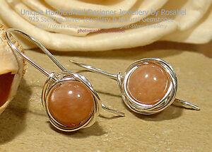 Sunstone Sterling Silver 925 Earrings Handmade Jewellery #0416-6