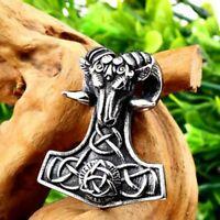 Edelstahl Thors Hammer Mjölnir Runen Amulett Anhänger Widder Kelten Wikinger