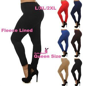 Women Queen Size Warm Fleece Lined Full Length Leggings Plus Size (L/1X/2X)