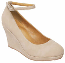 NEW 8 BEIGE ROUND TOE PUMP WEDGE PLATFORM HIGH HEEL ANKLE STRAP WOMAN SHOE S35