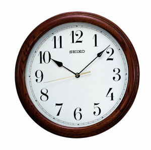 Seiko Oak Wooden Round Battery Wall Clock - Clear Dial Kitchen or Lounge QXA153B