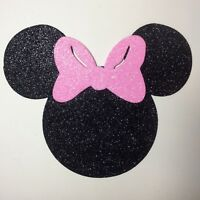 "Glitter Foam Minnie Mouse Head w/Light Pink Bow Set 12 Die Cuts 5"" H Party Decor"