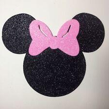 "Glitter Foam Minnie Mouse Head w/Light Pink Bow Set 12 Die Cuts 5"" H Party Decor"