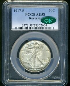 1917-S REVERSE WALKING LIBERTY PCGS AU58 CAC --- VERY NICE --- CAC CERTIFIED