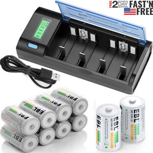 EBL D Size Cell Rechargeable 1.2V NI-MH Batteries 10000mAh / Battery Charger Lot