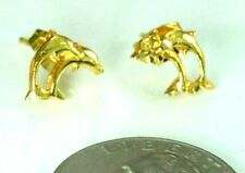 22K THAI BAHT DP YELLOW GOLD ~ TWO DOLPHIN FISH GIRL BABY STUD POST EARRINGS