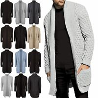 Mens Sweater Placket Long Line Open Cable Chunky Shawl Jumper Outwear Cardigan