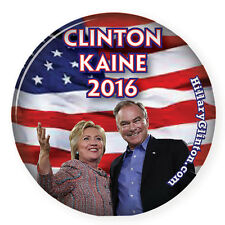 "HILLARY CLINTON / TIM KAINE CAMPAIGN 3"" PINBACK BUTTON VOTE FOR PRESIDENT 2016"