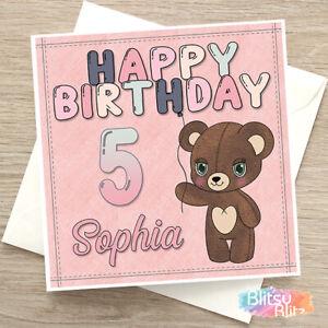 Personalised Handmade Teddy Bear Birthday Card Daughter Granddaughter Friend