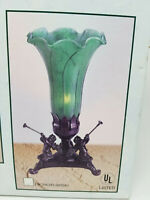 Vintage New Glass and Metal Herald Angels Blowing Horns Green Table Light