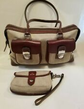 Dooney and Bourke Satchel Handbag with Clutch Double Pocket Tote New Taupe Purse