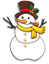Snowman - Winter - Snow - W/Pipe - Embroidered Iron On Applique Patch