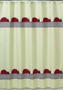 LADYBUG PARADE GREEN BLACK RED KID BATH FABRIC SHOWER CURTAIN SWEET JOJO DESIGNS
