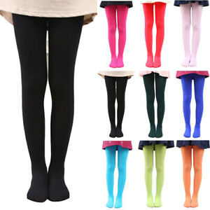 Kids Girls Soft Elastic Tights Pantyhose Solid Color Dance Pants Hosiery