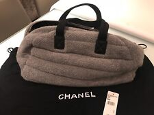 AUTHENTIC CHANEL GREY QUILTED FABRIC HOLDALL / BAG
